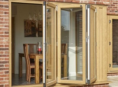 uPVC bifold doors with oak colour finish