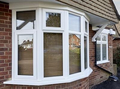 White bay style window installation